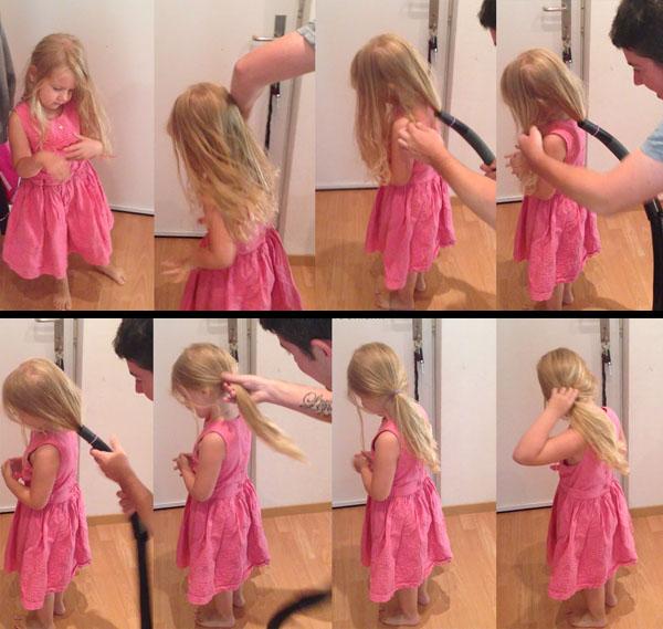 Tạo kiểu tóc với máy hút bụi, nhanh và gọn