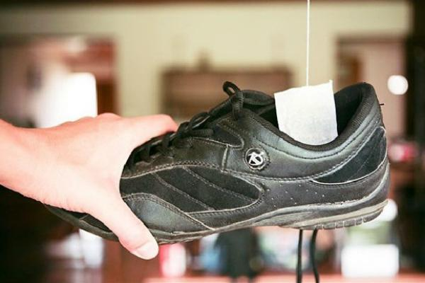Cho bã nước chè vào trong giày để khử mùi