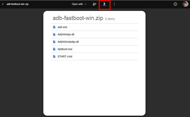 Tải và giải nén ADB Fastboot Tool ra 1 folder (thư mục) tại đây