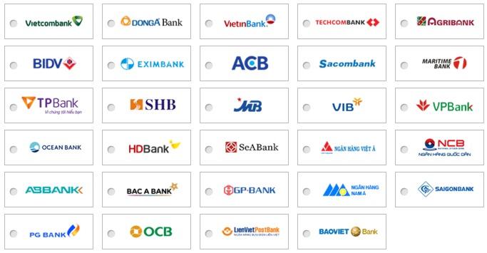 ngân hàng hỗ trợ 123Pay