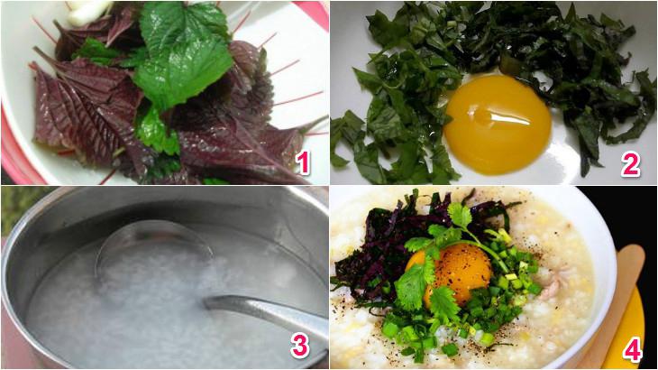 Cách làm cháo trứng gà tía tô