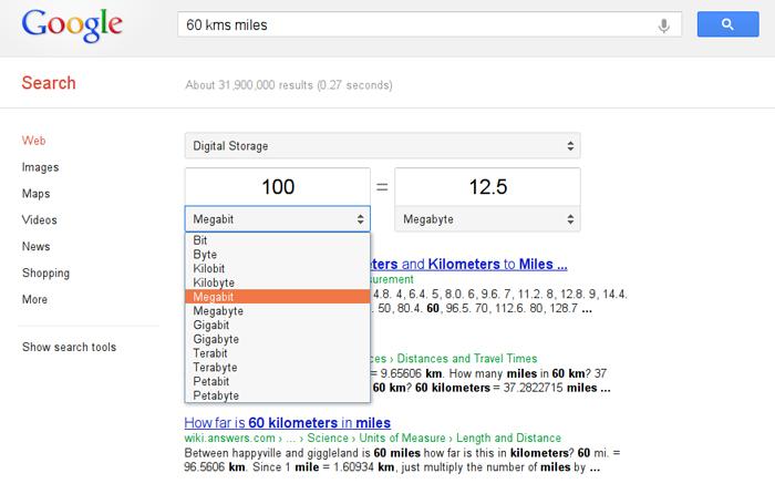 Google có khả năng chuyển đổi nhiều đơn vị khác nhau