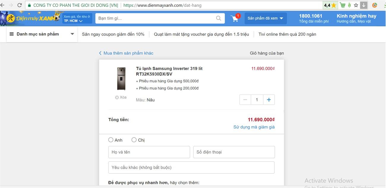 Mua hàng online cực đơn giản và nhanh chóng trên website Dienmayxanh.com