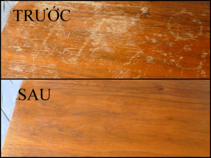 Dầu ô liu và giấm giúp đánh bóng mặt gỗ hiệu quả