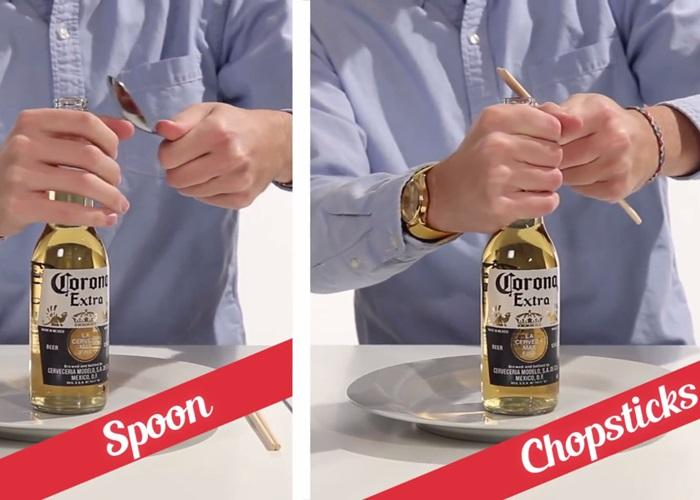 Trên bàn đã có sẵn muỗng, đũa khui bia uống liền cho mát