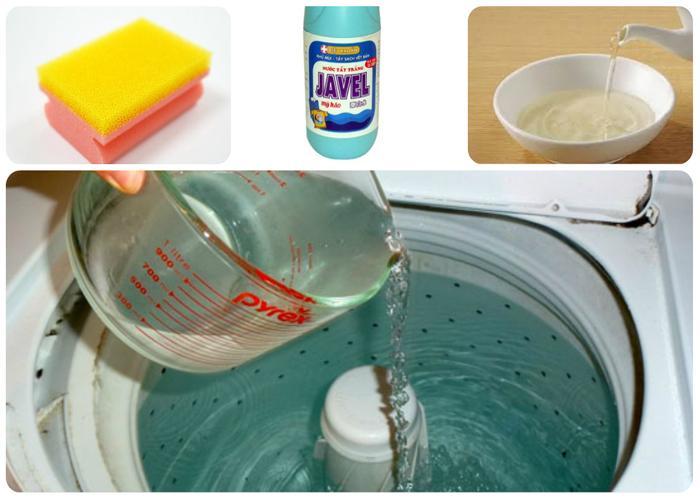 Đổ giấm vào phần nước và ngâm lồng giặt