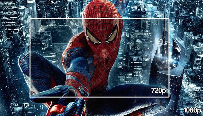 Sự khác biệt giữa HD 1280 x 720 (720p trên hình) và Full HD 1920x1080 (1080p trên hình)