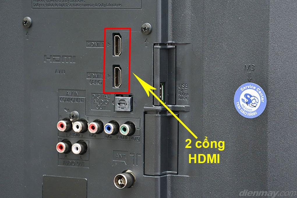 Cổng HDMI dễ dàng nhận thấy trên tivi Panasonic