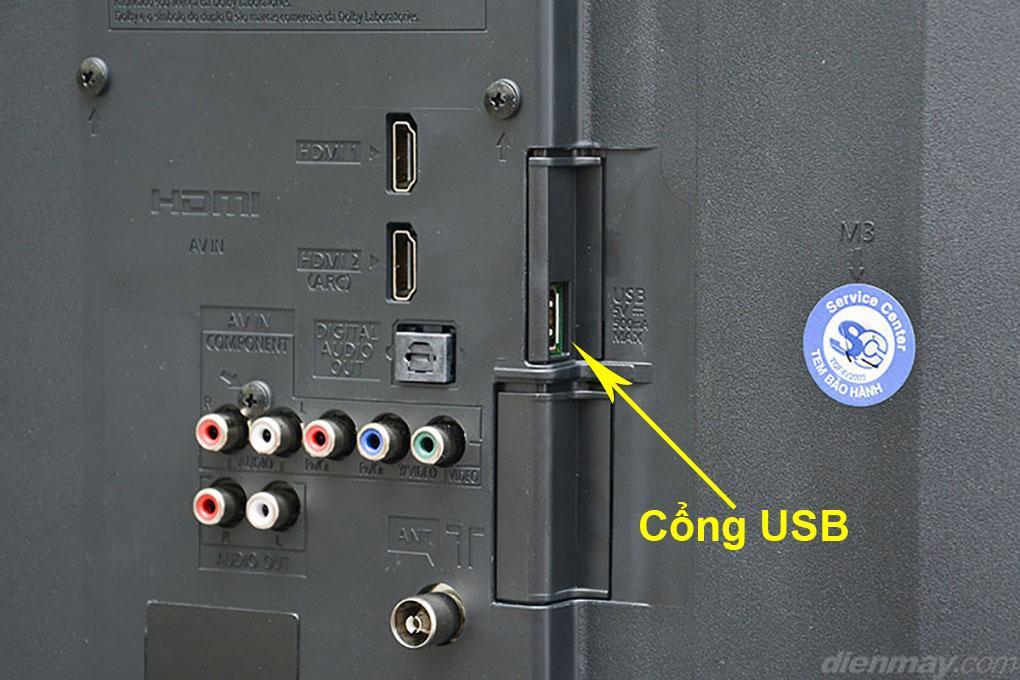 Thông thường tivi sẽ có từ 1 cổng USB trở lên