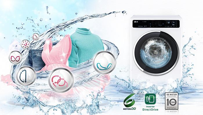 Công nghệ 6 Motion giúp giặt sạch quần áo hiệu quả