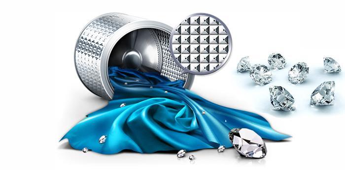 Làm sạch hiệu quả với thiết kế lồng giặt kim cương