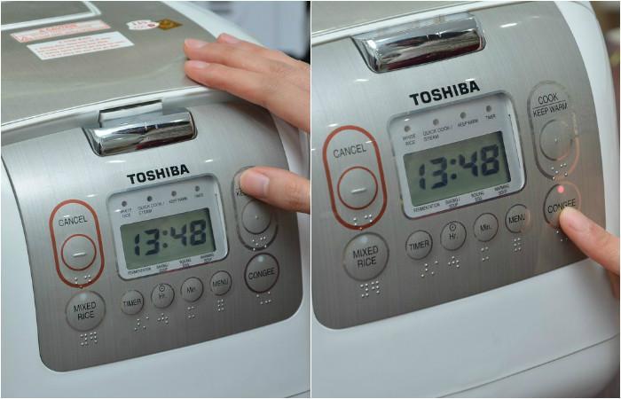 Cách nấu cháo bằng nồi cơm điện tử Toshiba