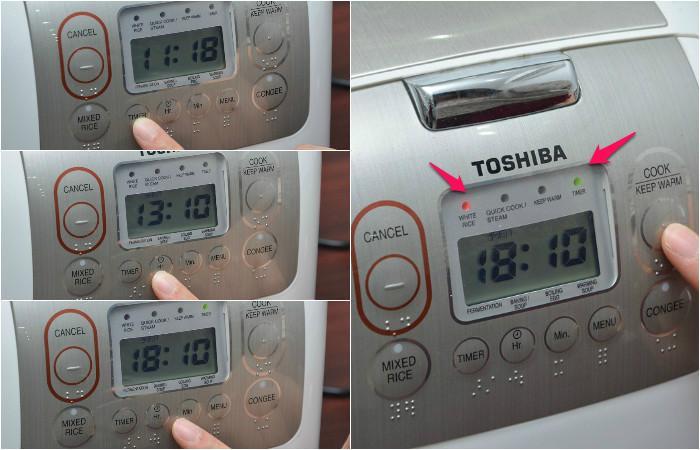 Cách hẹn giờ nấu cơm tự động bằng nồi cơm điện tử Toshiba