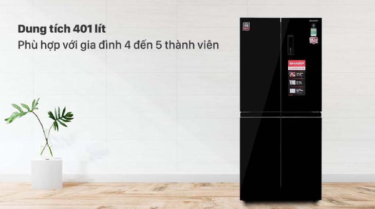Tủ lạnh Sharp Inverter 401 lít SJ-FXP480VG-BK