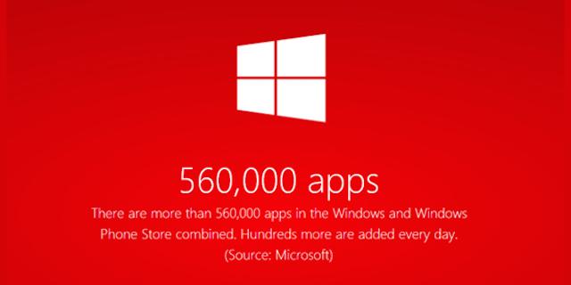 Các cửa hàng ứng dụng của Microsoft chạm mốc 560000
