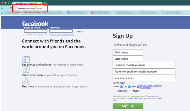 Một trang web giả mạo Facebook