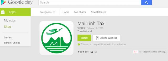 Ứng dụng Taxi của Mai Linh\