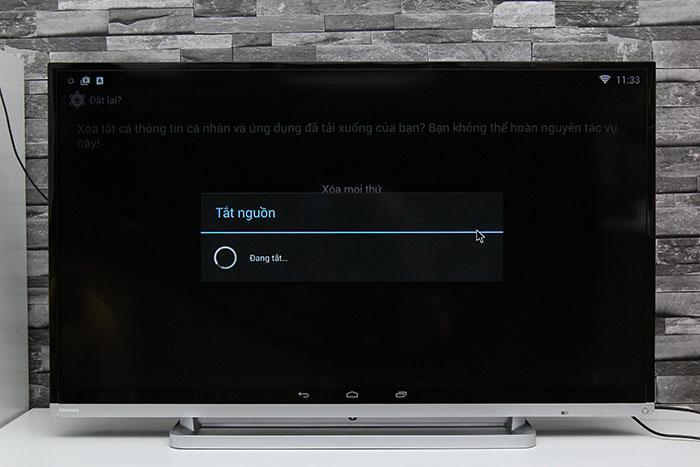 Tivi hiển thị tắt nguồn khi được đặt lại dữ liệu