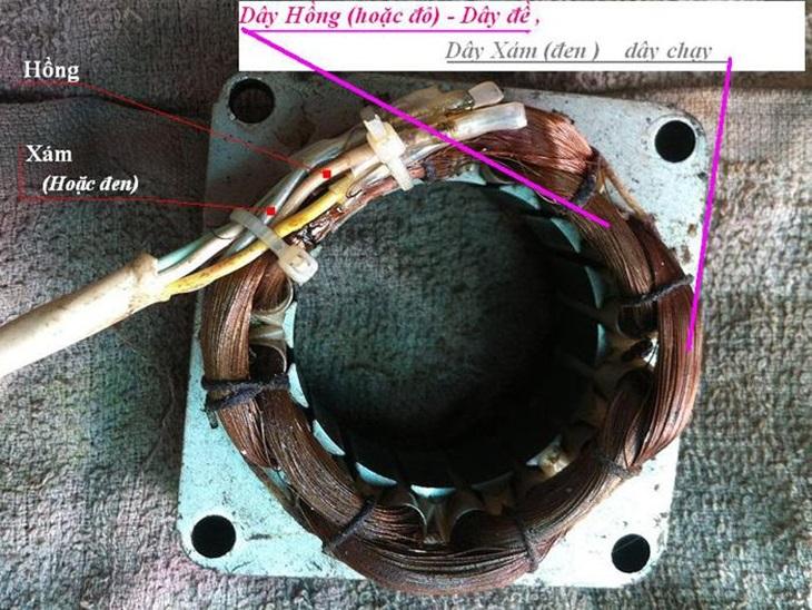 Cuộn dây đề màu hồng hoặc đỏ bị đứt cũng làm quạt chạy chậm