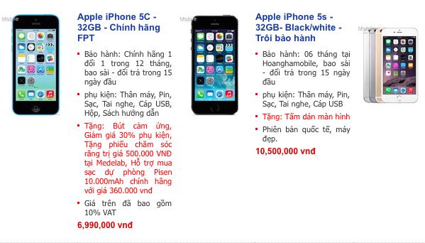 iPhone 5C 32GB chính hãng giảm giá sốc, chỉ còn ngang hàng xách tay 5
