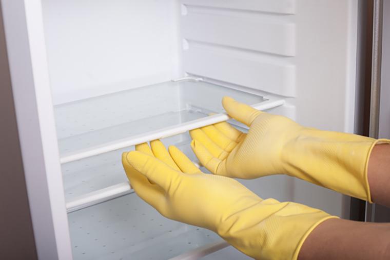 Tháo gỡ và làm sạch các ngăn kệ trong tủ.