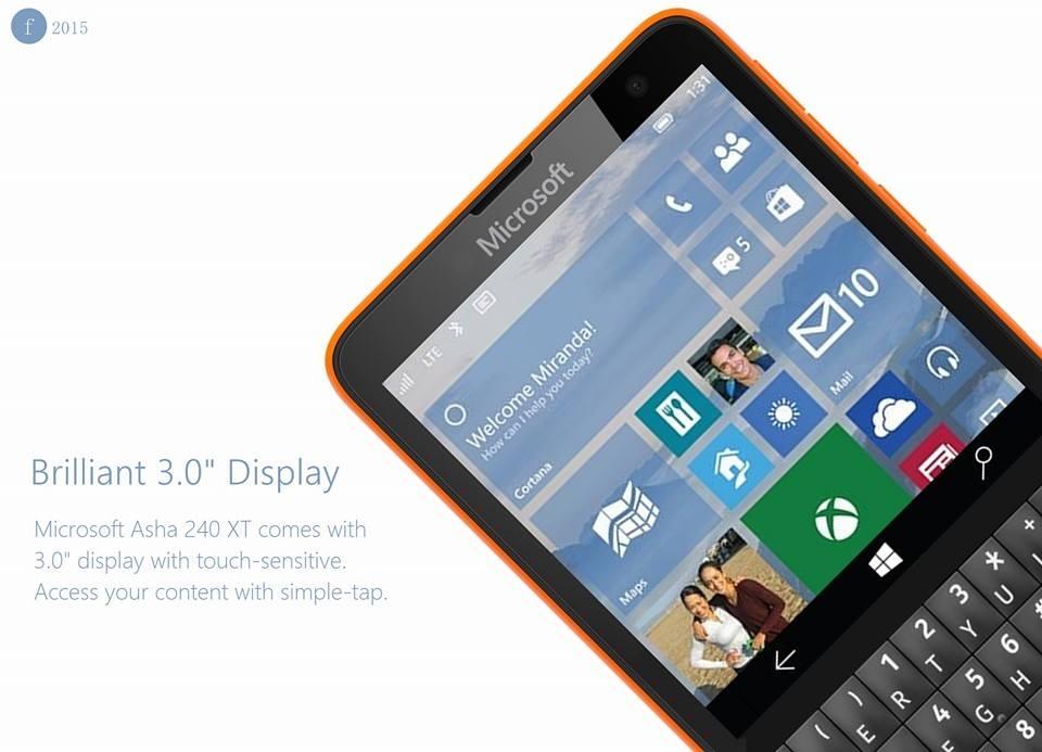 Microsoft Asha 240 XT smartphone giá rẻ chạy Windows 10 với bàn phím QWERTY hấp dẫn