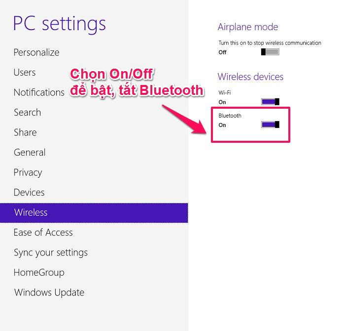 bật bluetooth win 8