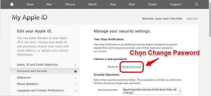 Chọn Change Password