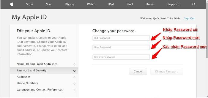 Nhập mật khẩu cũ và mật khẩu mới