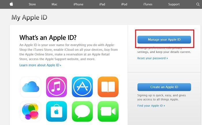Giao diện trang web My Apple ID