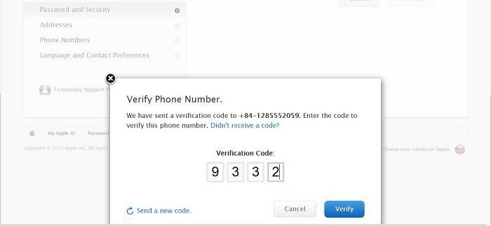 Nhập mã xác thực và chọn Verify