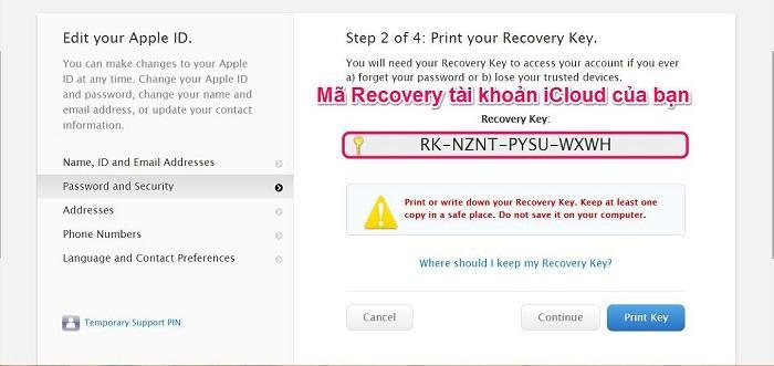 Apple sẽ cấp cho bạn một mã Recovery