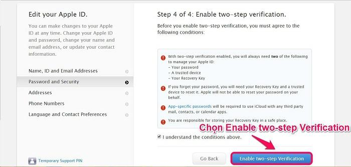 Chọn Enable two-step Verification