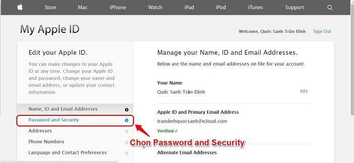 Chọn Password and Security