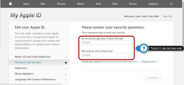 Trả lời hai câu hỏi bảo mật để tiếp tục