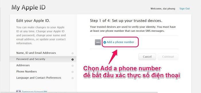 Chọn Add a phone number để bắt đầu xác thực số thực số điện thoại