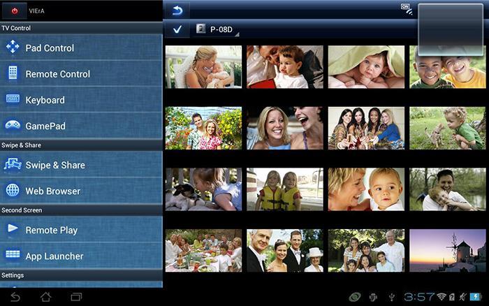 Giao diện chia sẻ nội dung của Panasonic remote 2