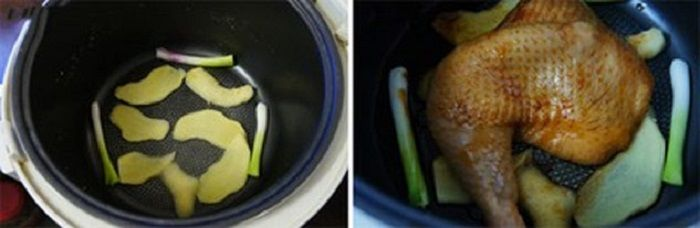 Lót gừng và ít hành lá vào dưới đáy nồi và cho đùi gà vào