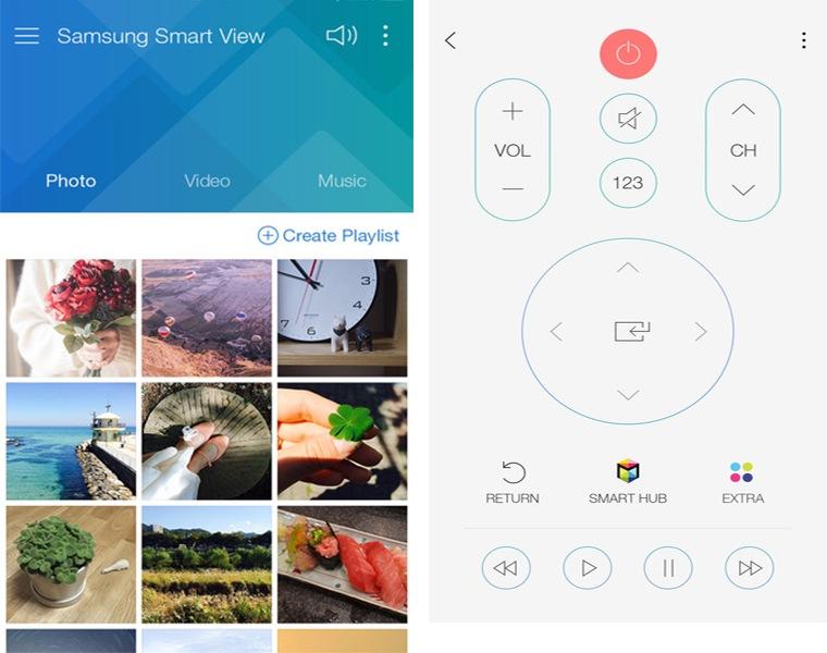 Giao diện điều khiển tivi của Samsung Smart View