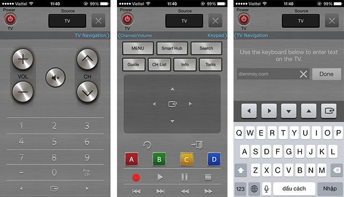 Giao diện điều khiển tivi của Smart View 2.0