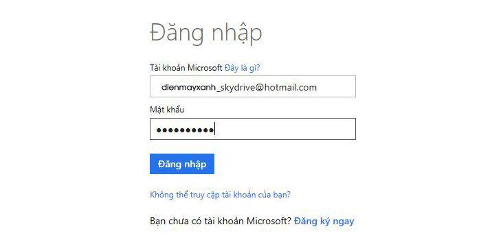 Nhập email và mật khẩu tài khoản Microsoft rồi nhấn Đăng nhập