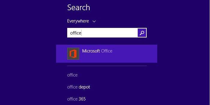 """Tiếp theo, bạn gõ từ khóa tìm kiếm """"Office""""."""