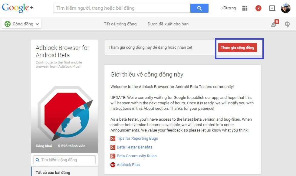 Tham gia cộng đồng Adblock Browser for Android Beta