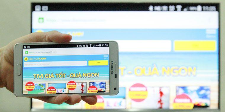 Tivi sẽ hiển thị nội dung có trên màn hình điện thoại