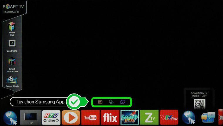 Chọn mục tùy chọn Samsung App