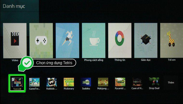 Chọn ứng dụng Tetris
