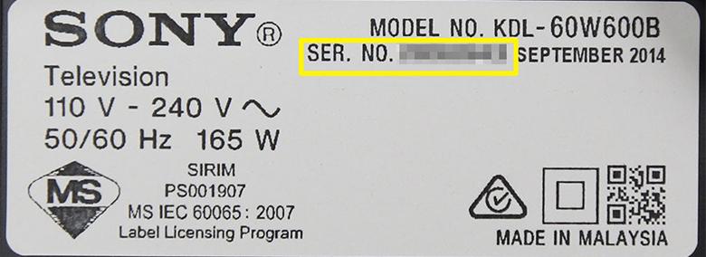 Cách tìm Serial Number trên tivi Sony