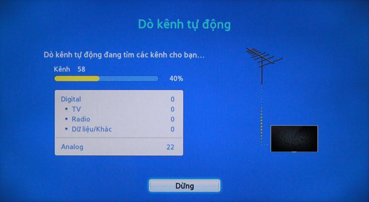 Tivi đang tiến hành dò kênh tự động