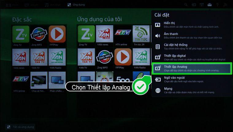 Nhấn chọn Thiết lập Analog trong mục Cài đặt