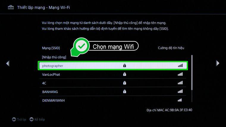 Chọn mạng Wifi mà bạn muốn kết nối